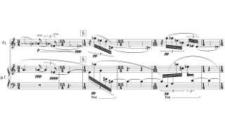 「Flow Flute and Piano」第一部の楽譜