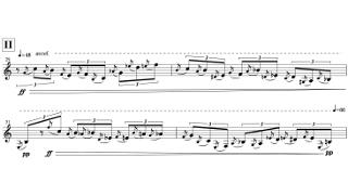 「Sonata for Clarinet Solo」第二部の楽譜